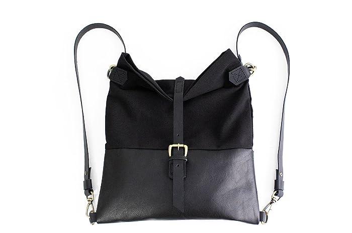 Roby BACKPACK, mochila de tela y piel, mochila de tela y cuero, negro