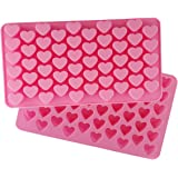 Always Your Chef 2 Pack 55-Cavity Silicone Candy Molds/Chocolates Molds/Ice Cube Trays, MINI Heart Shaped, Random Color