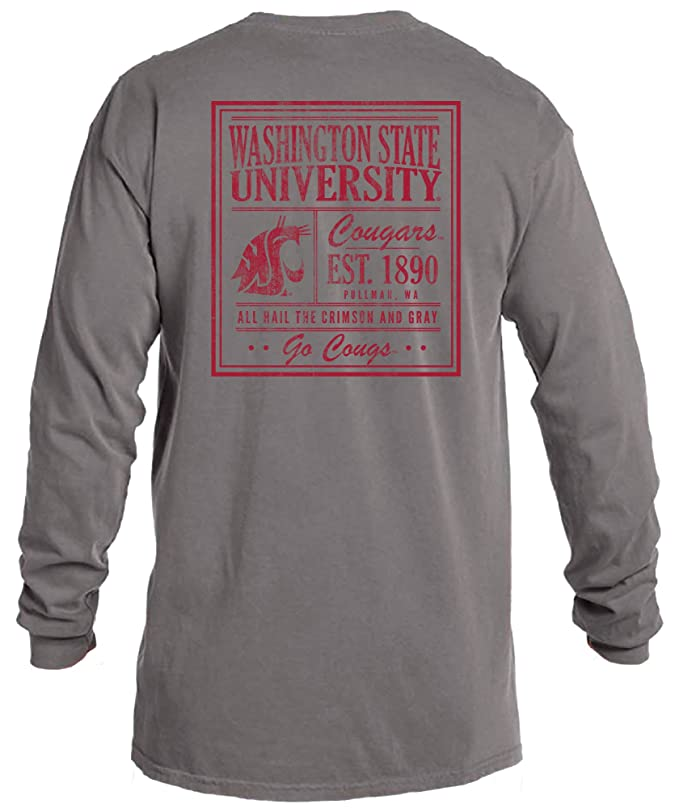 6bd9f9a57 Amazon.com : Image One NCAA Vintage Poster Comfort Color Long Sleeve T-Shirt  : Clothing
