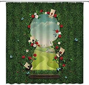Little Girl in Wonderland and Through The Looking Glass Castle Poker Flower Butterfly Fairy Tales Polyester Fabric Bathroom Accessories 70×70 Inch with Hook Hole
