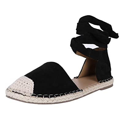 3f424e70947e0 Fashare Womens Espadrilles Tie Up Flat Sandals Peep Toe Classic Cutout  D'Orsay Dress Shoes