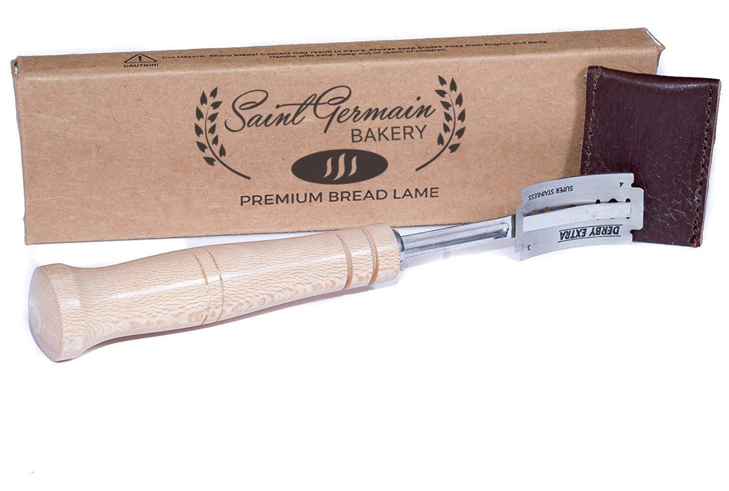 SAINT GERMAIN Premium Hand Crafted Bread Lame for Dough Scoring Knife, Lame Bread Tool for Sourdough Bread Slashing with 6 Blades Included with Authentic Leather Protector Cover