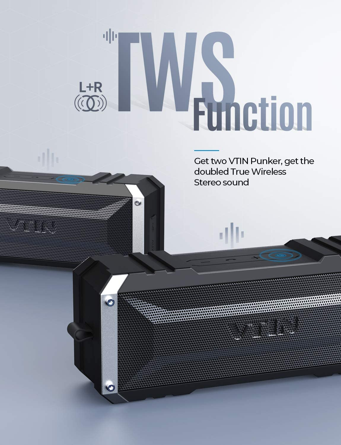 Wireless Speaker for home IPX6 Waterproof Speaker Pool Detachable Hook Loud Stereo Sound V5.0 Portable Bluetooth Speaker with TWS 30H Long Playtime Backyard Party Vtin 20W Bluetooth Speakers