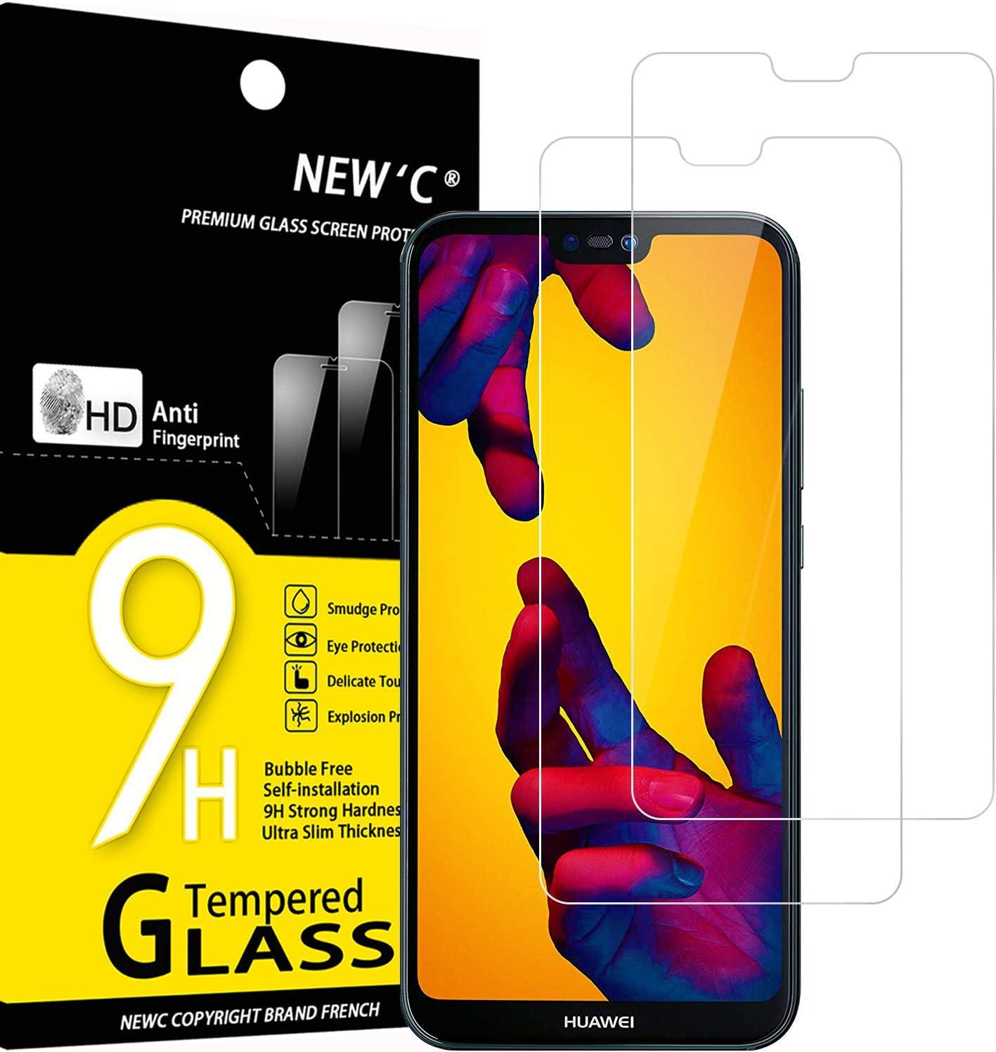 NEW'C 2 Unidades, Protector de Pantalla para Huawei P20 Lite, Nova 3e, Antiarañazos, Antihuellas, Sin Burbujas, Dureza 9H, 0.33 mm Ultra Transparente, Vidrio Templado Ultra Resistente