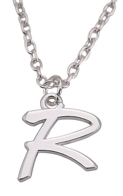 Amazon.com: Acero inoxidable plateado inicial alfabeto R ...