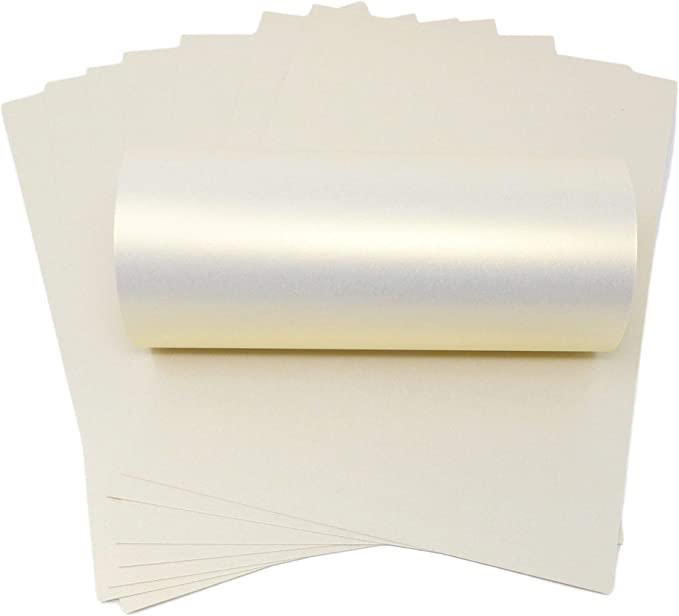 White Card Premium Pearlescent Shimmer A4 Curious Metallics Ice Silver 300gsm