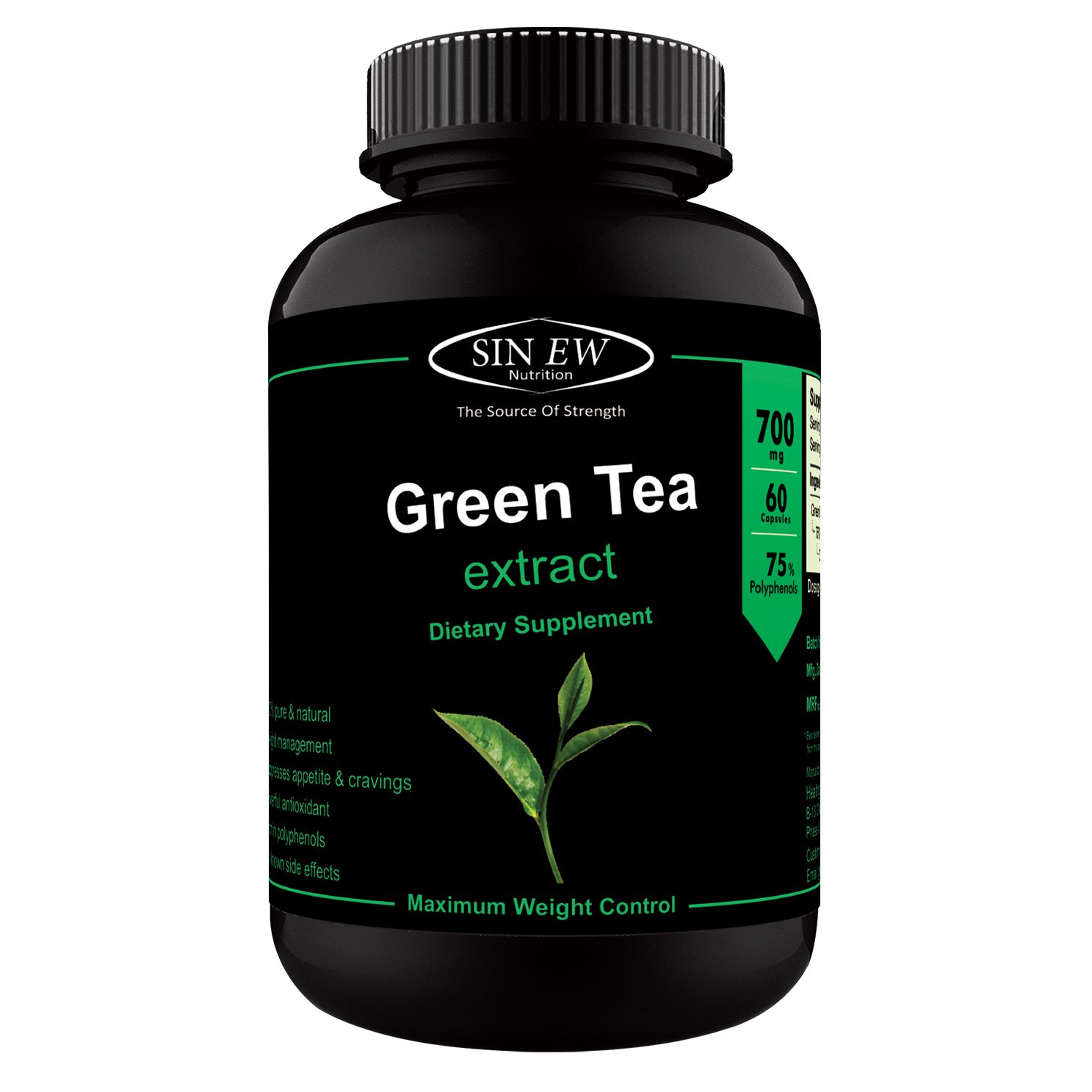 Sinew Nutrition Green Tea Extract 700 mg (60 Pure Veg Capsules), 100% Pure & Natural Weight Management & Appetite Suppressant Supplement product image
