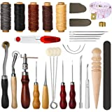 Electop 31 Pcs Leather Sewing Tools DIY Leather Craft Tools Hand Stitching Tool Set with Groover Awl Waxed Thread Thimble Kit