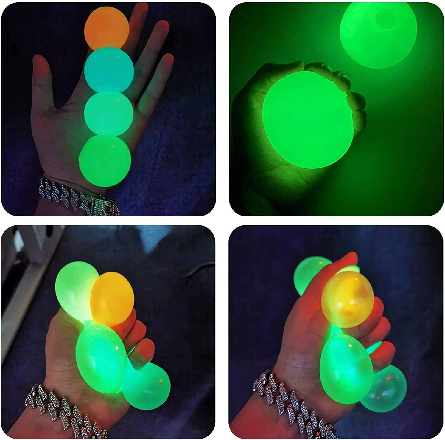 Stress Relief Balls 4 Pcs Luminescent Sticky Ball, Squishy Glow Stress Relief Toys for Kids and Adults Tear-Resistant, Fun Toy for ADHD, OCD, Anxiety