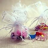 iShine 100pz Sacchetti Tulle Veli Organza con Nastrino per Matrimonio Compleanno Battesimo Comunione Nascita Festa Natale Confezione Gioielli