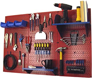 product image for Pegboard Organizer Wall Control 4 ft. Metal Pegboard Standard Tool Storage Kit with Red Toolboard and Blue Accessories