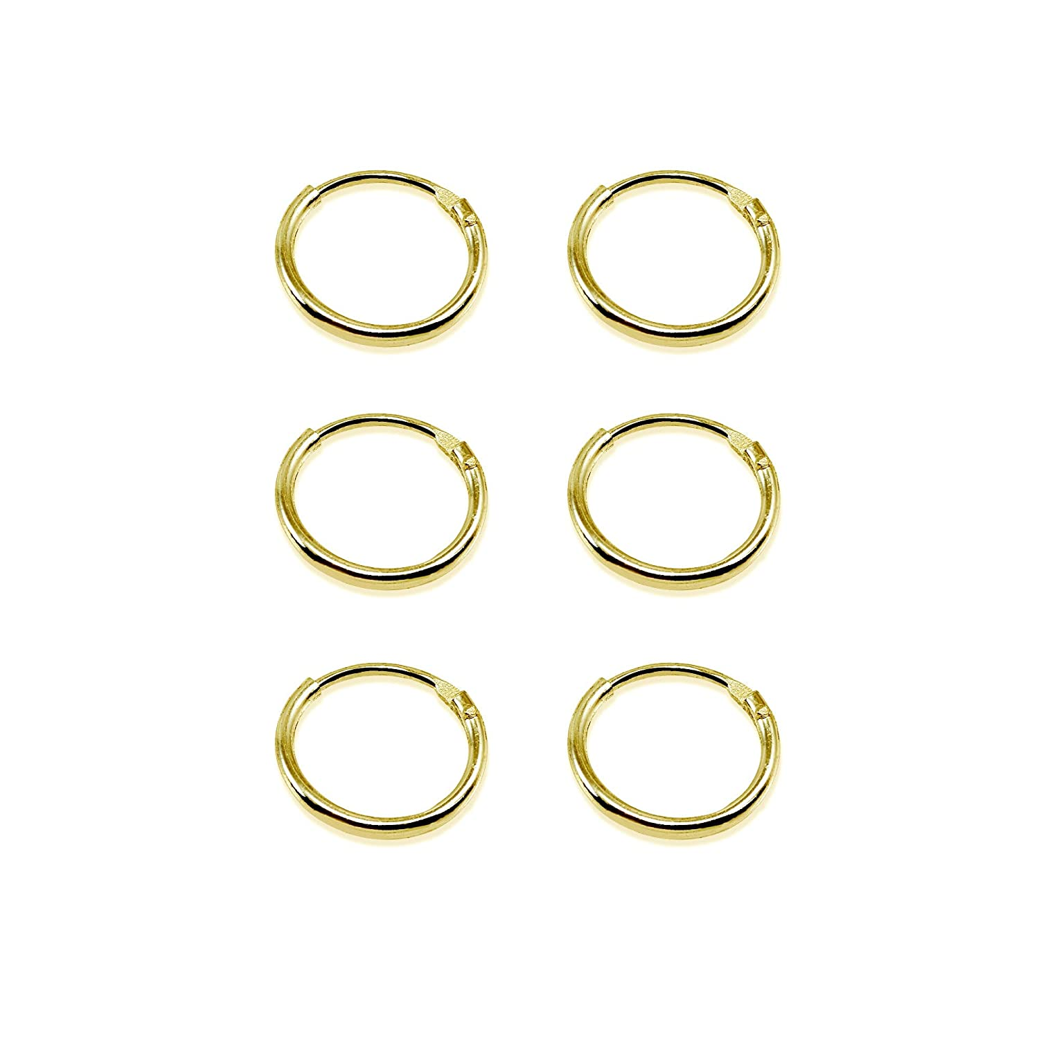 Yellow Gold Flashed Sterling Silver Small Endless 10mm Round Unisex Hoop Earrings Set of 3 Pairs