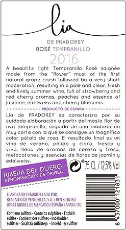 PRADOREY Lia - Vino rosado - 100% Tempranillo - Ribera del Duero - Vino natural de corta maceración con un punto de dulzor - 1 Botella - 0,75 L