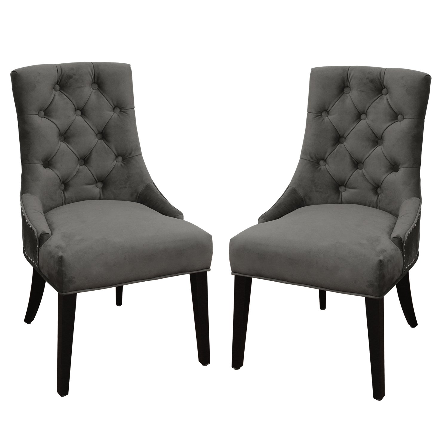 Joveco European Style Renaissance-Inspired Design Accent Side Chair - Set of 2 (Grey Velvet)