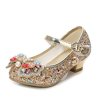 a86443e4514d7 Amazon.com: PLAN B Kids Girls Sparkling Sequin Princess Shoes Mary ...