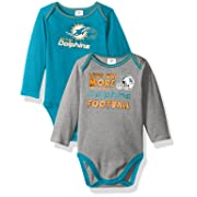 NFL Miami Dolphins Unisex-Baby 2-Pack Long-Sleeve Bodysuits, Aqua, 3-6 Months