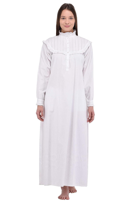 Cotton Lane White Edwardian Nightdress Long Sleeve