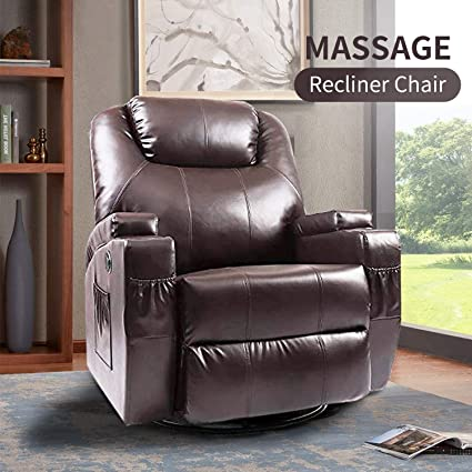 Massage Recliner Chair, Fitnessclub, Electric Leather Recliner Sofa with  Heat, Zero Gravity, 360 Degree Swivel, Lazy Boy Recliner for Office, Study,  ...