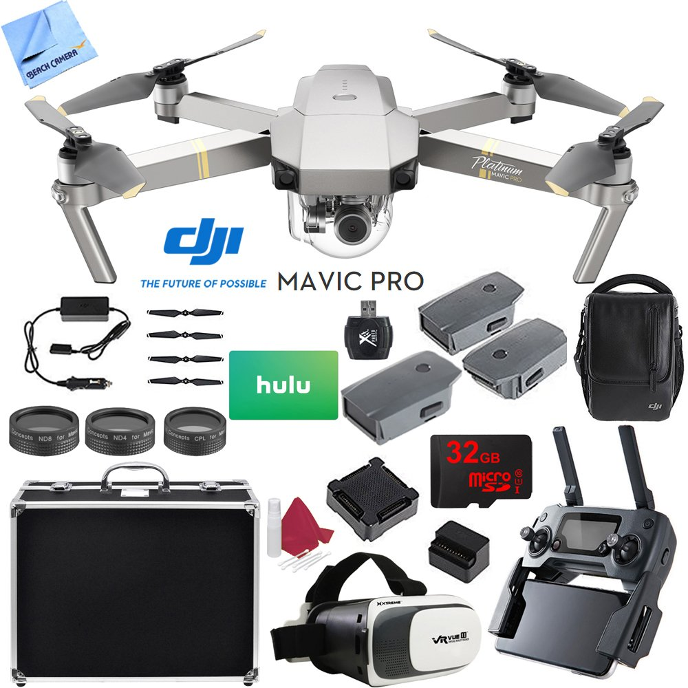 DJI Mavic Pro Platinum Quadcopter Drone with 4K Camera and Wi-Fi Fly More Combo Bundle with 32GB Memory Card, Hulu $25 Gift Card and Accessories (6 Items) by Beach Camera