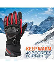 KEMIMOTO Winter Motorcycle Riding Gloves Touch Screen Waterproof Windproof Motorbike Gauntlet gloves with Hard Knuckle Palm Finger Protection Long Cuff Updated Version Four-layer Structure(XL Red)