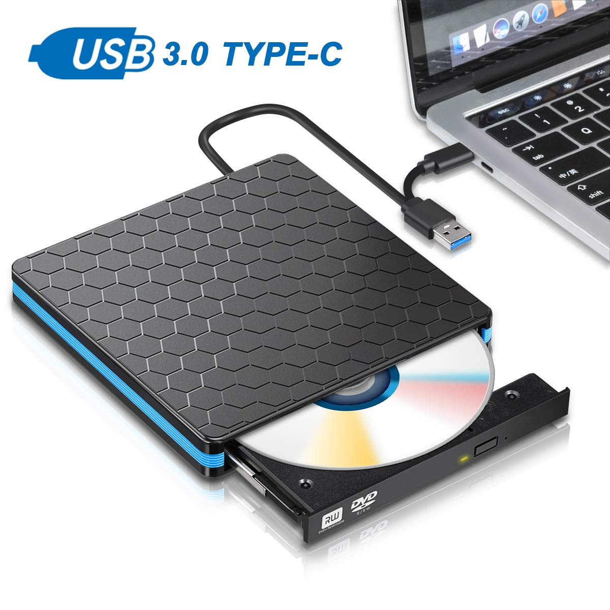 External DVD Drive, M WAY USB 3.0 Type C CD Drive, Dual Port DVD-RW Player, Portable Optical Burner Writer Rewriter, High Speed Data Transfer for Laptop Notebook Desktop PC MAC OS Windows 7/8/10 by M WAY