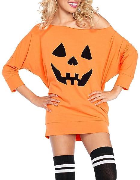 amazoncom women halloween costume adult party fancy halloween pumpkin off shoulder mini jersey dress tunic dress clothing