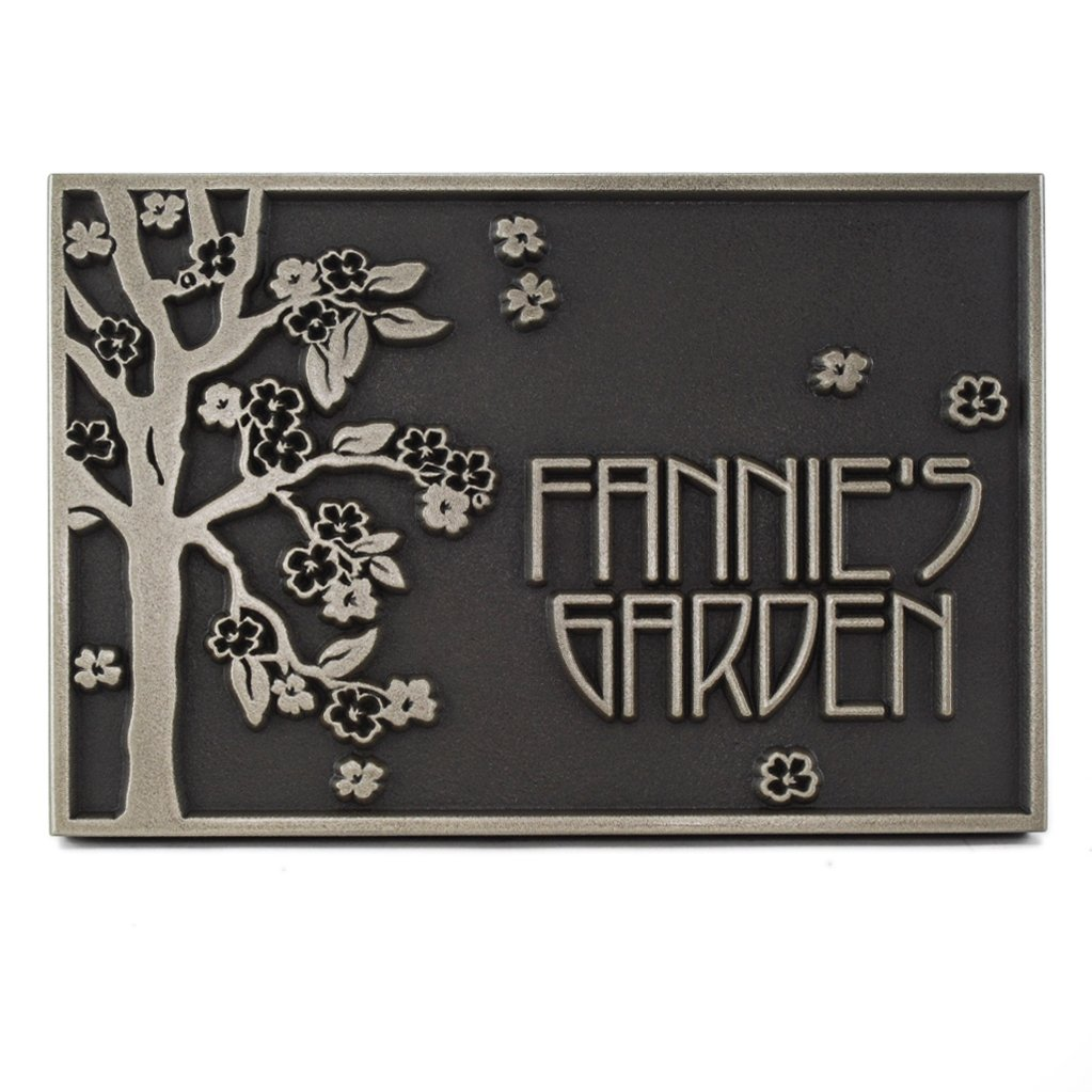 Rectangle Blossom Tree Plaque 12x8 - Raised Stainless Steel Metal Coated