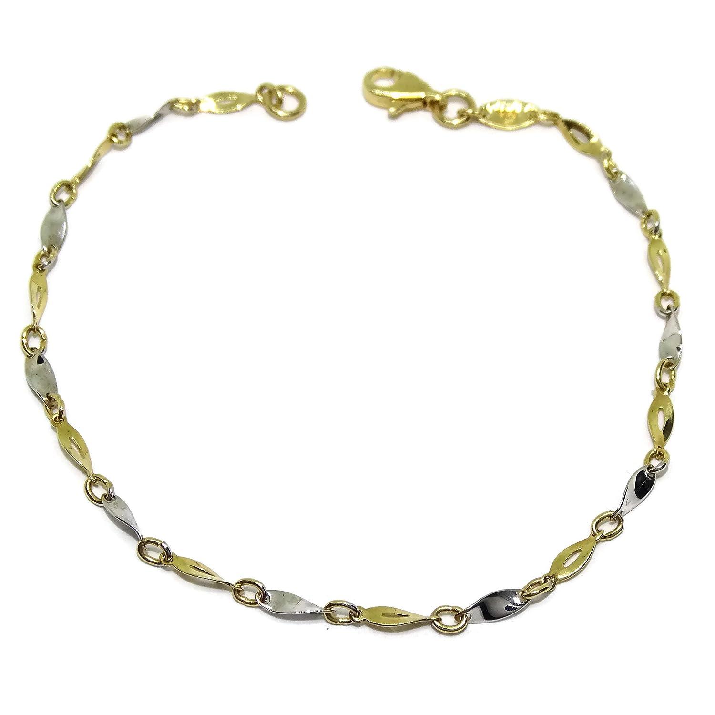 Bracelet en or jaune et or blanc de 18 ktes. 18,5 cm Never Say Never