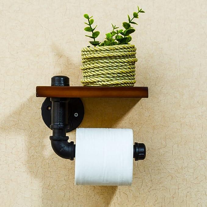 Foxi Succión madera portarrollos de pared, Pegamento + autoadhesivo 3m, Sostenedor de papel higiénico sin perforación-C: Amazon.es: Bricolaje y herramientas