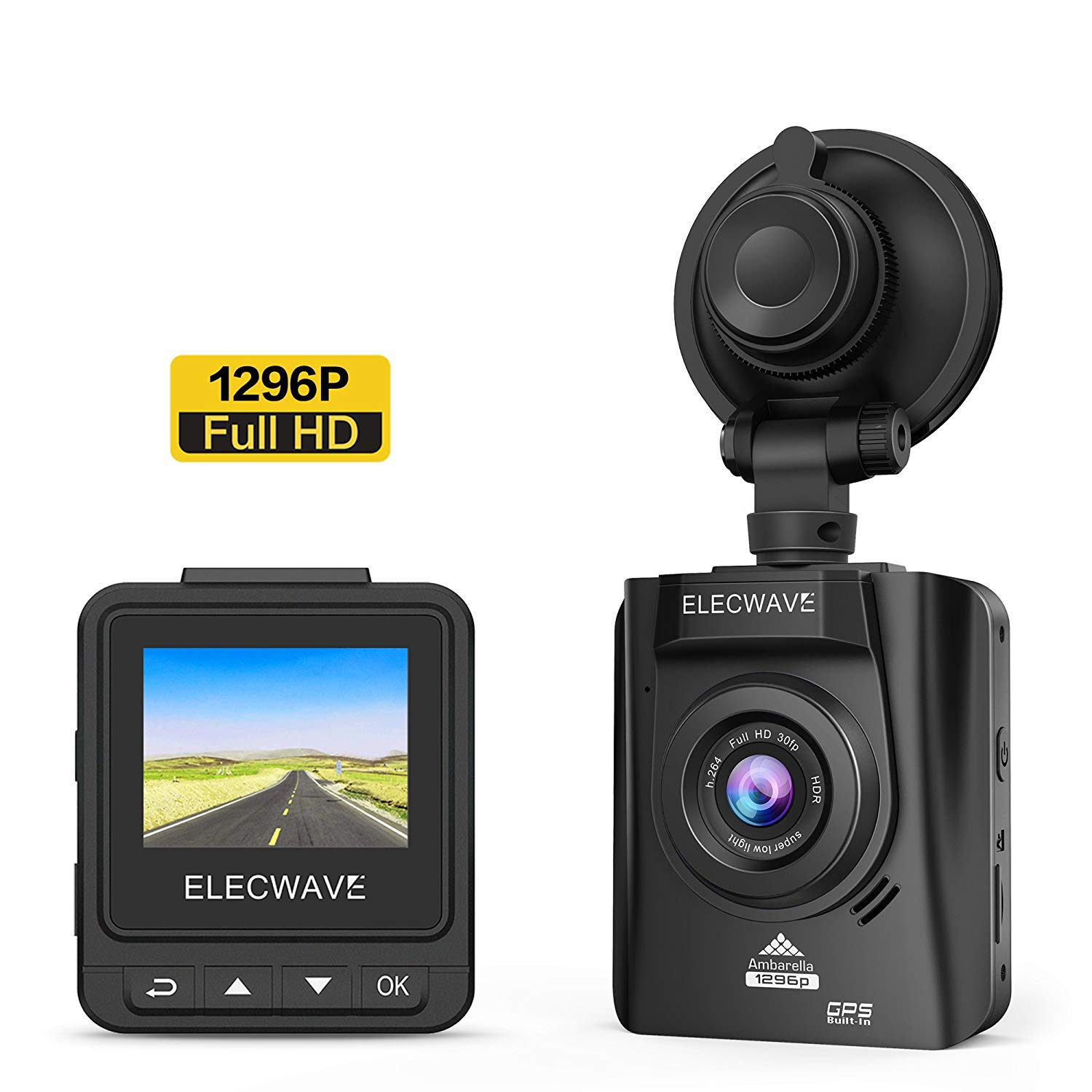 Car Dash Camera - Elecwave EW-D200-1 170° Wide Angle Full HD 1296P LCD Car DVR Camera Video Recorder with G-Sensor Night Vision Motion Detection