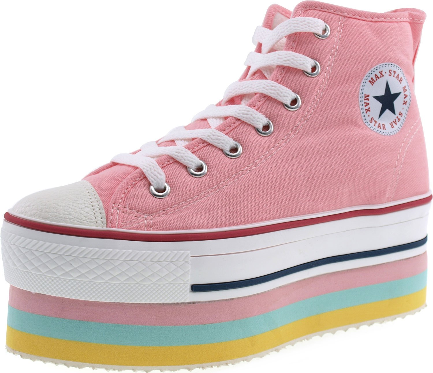 CN9 8 Holes Double Platform Denim Studed Taller Insole High Top Sneakers B00D12HUHK 9 B(M) US|Pink