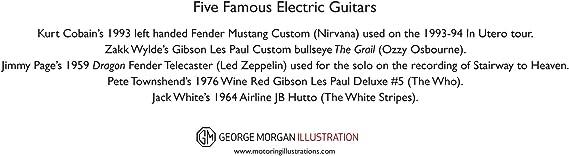 George Morgan Illustration Cinco Famosas Guitarras eléctricas ...