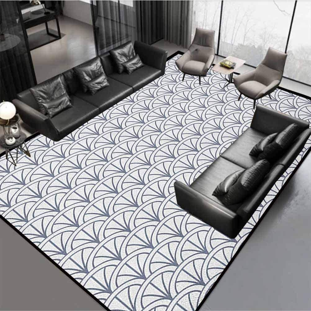 Amazon Com Geometric Modern Chic Rug Home Room Decor Rugs Seigaiha Pattern Overlapping Half Circles Ocean Wave Pattern Traditional Japanese Grey White Rug 60 By 30 Kitchen Dining