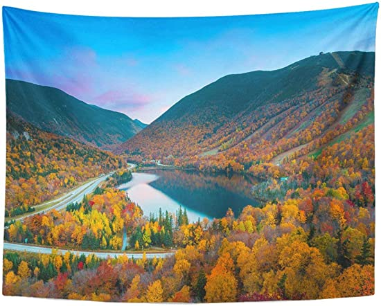 Emvency Wall Tapestry Northeast Fall Colours in Franconia Notch State Park White Mountain National Forest New Hampshire Foliage Hiking Decor Wall Hanging Picnic Bedsheet Blanket 80×60 Inches