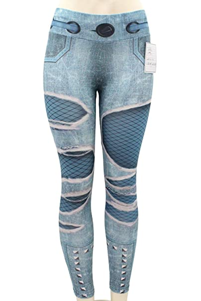 367d256bf4 Women's Denim Riped Holes Print Fake Jeans Leggings High Waist Butt Lift  Stretchy Skinny Yoga Pants