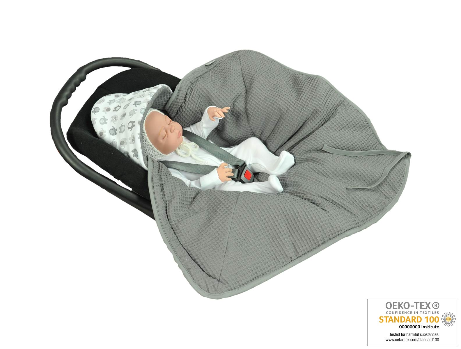 MoMika Swaddling Blanket   Bunting Bag I Universal Fit for Car Seat   Stroller   Buggy or Baby Bed  100% Cotton (Graphite-Elephant)