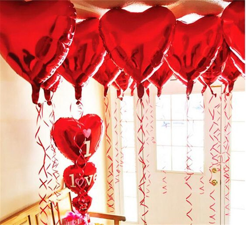 Ximkee 10pcs Red Heart Foil Helium Balloons Valentines Day Wedding Engagement Decorations
