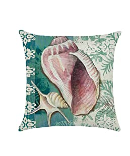 wintefei Throw Pillow Case, 18 inch Vintage Sea Shell Whale Turtle Bed Sofa Cushion Cover -#2