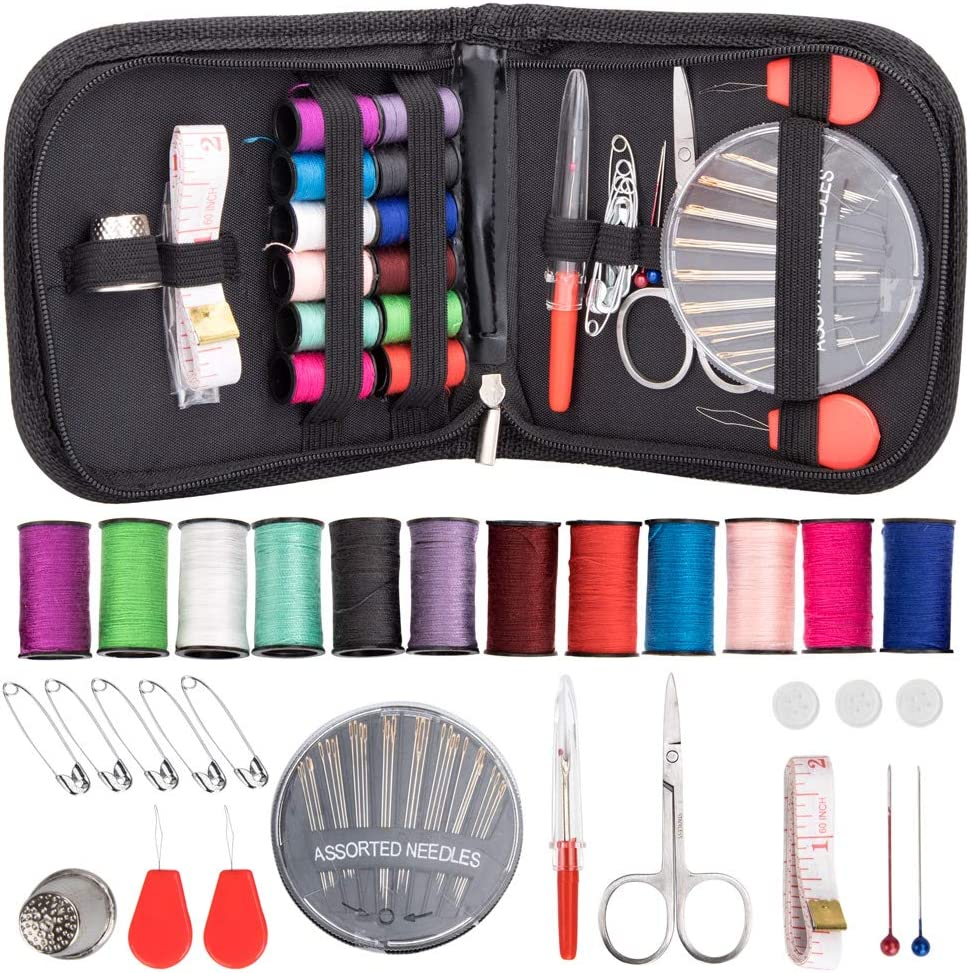 Sewing Needles Adults Thimble Emergency DIY Sewing Supplies Organizer Filled with Scissors YCDTMY Embroidered Sewing Kit for Traveler Tape Measure etc Beginner Thread