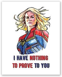 AtoZStudio Captain Marvel Poster Quote - Avengers Wall Art Print // Home Decor // Brie Larson Portrait Picture (11x14)