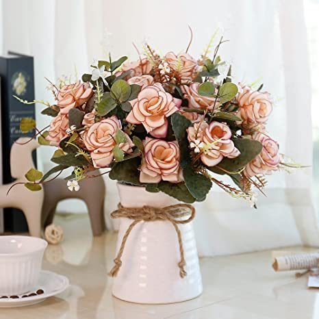 Amazon Com Yiliyajia Fake Flowers In Vase Silk Rose Artificial Flower Arrangements Fake Faux Flowers Bouquets With Ceramics Vase Table Centerpieces For Dinning Room Table Kitchen Decoration Pink Home Kitchen