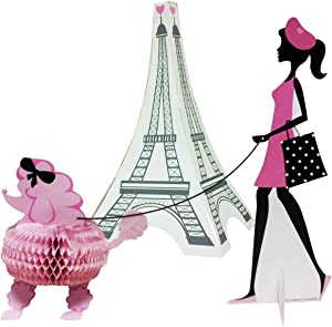 Creative Converting 3 Piece Party in Paris Centerpiece Set, Pink/Black
