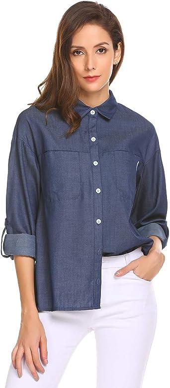 Meaneor - Camisas - para mujer Azul azul marino X-Large ...