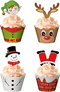 120PCS Christmas Cupcake Toppers Wrappers Party Supplies Favors - Snowman Santa Claus Reindeer Elf