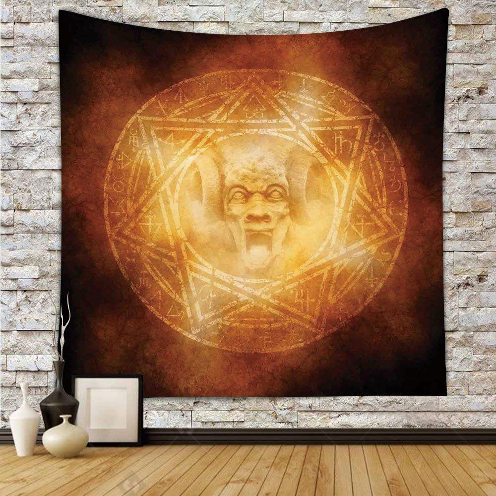 iPrint Polyester Tapestry Wall Hanging,Horror House Decor,Demon Trap Symbol Logo Ceremony Creepy Ritual Fantasy Paranormal Design,Orange,Wall Decor for Bedroom Living Room Dorm