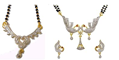 8bd4b5112 Image Unavailable. Image not available for. Colour: Preet gehna daily wear  American diamond mangalsutra pendant set