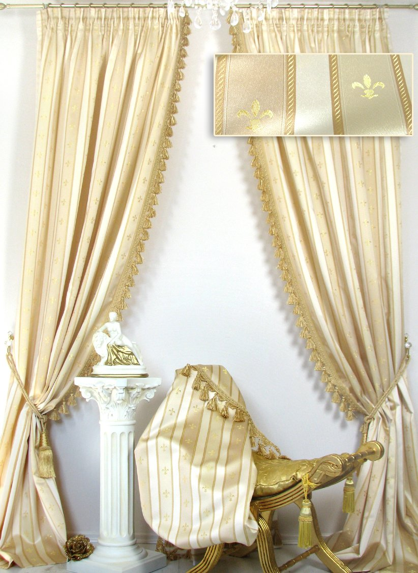 2 Vorhänge im Set Villa Gracia Creme-Gold mit Quastenborte, Jacquard-Qualität, je 140 x 260 cm, Ateliergefertigt