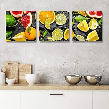 Quadri L C Italia Quadri Cucina Moderna Frutta 3 Quadretti 25 X 25 Stampa Su Tela Canvas Da Parete Decorazioni Amazon It Casa E Cucina