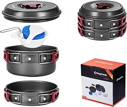 Outdoor Cookware Set Non-Stick Camping Cookware Set /& Backpacking 2-3 PERSONS hI