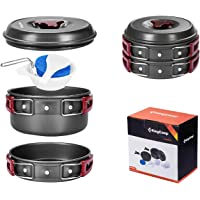 KingCamp Camping Pot Frying Pan Kettle 5 Pcs/8 Pcs for 2-3 Person Family Cooking Portable Cookware Set